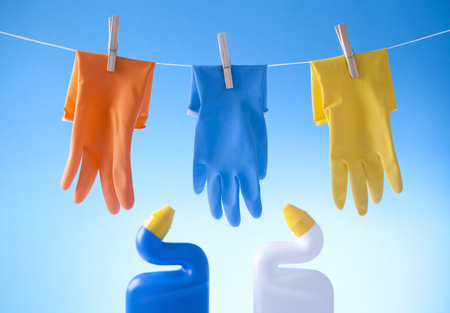 tidiness: gloves and cleaning detergents  Stock Photo