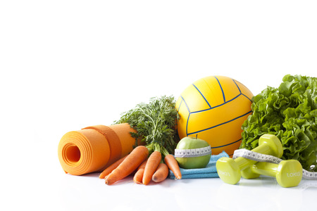 healthy food and sport equipment isolated on white photo