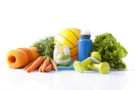 healthy nutrition: healthy food and sport equipment isolated on white Stock Photo