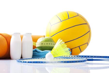 aktywność fizyczna: artykuły dla zdrowej aktywności fizycznej, odizolowane na białym