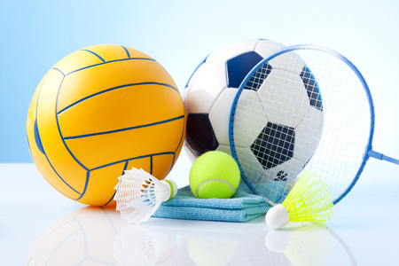 Sport theme  Balls, and other sport equipment