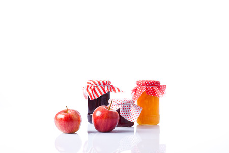 assortment of jam in the glass jars  photo