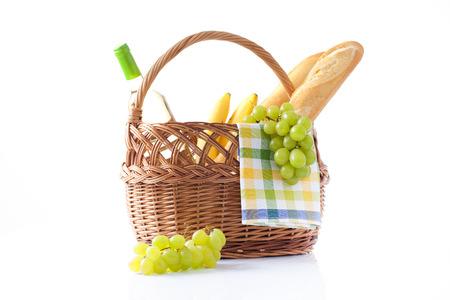 Picnic basket and bottle of wine photo