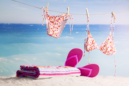 Beach accessories  Concept of summer vacations Stock Photo