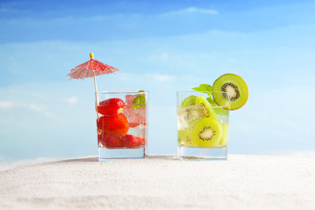 tropical drinks,all inclusive vacations Stock Photo