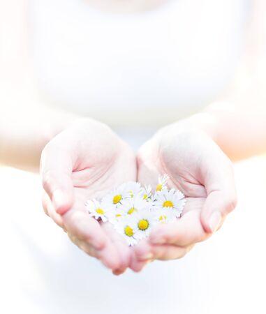 flowers in hands, purity concept