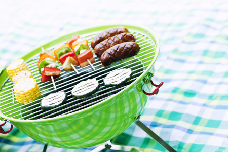 Grill bbq party with sausages,and vegetables photo