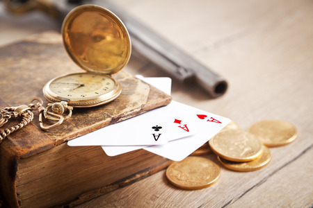 Playing cards and dollars photo