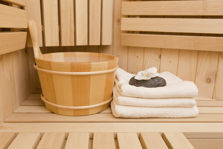 finnish sauna,relaxation and meditation concept photo