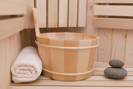 wellness and relaxation items in sauna photo