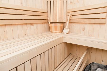 finnish sauna, relaxation and meditation concept photo