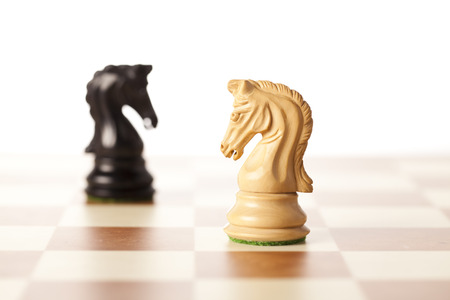 confrontation: Confrontation - white and black chess knights standing next to each other on a chessboard