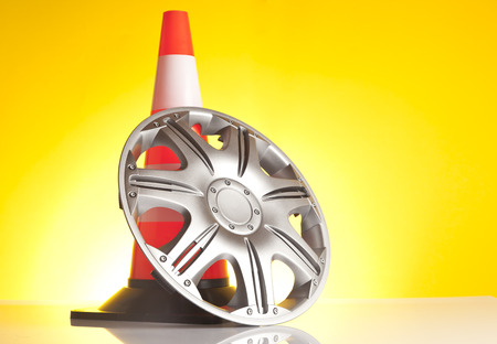 alloy: alloy wheel and traffic cone