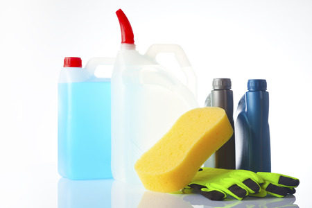 group of car accessories including windshield washer fluids and motor oil