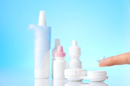 antihistamine: contact lenses and eye hygiene items Stock Photo