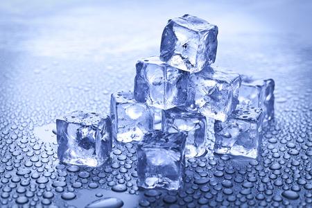 wet ice cubes on blue Stock Photo - 39488154