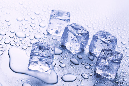 ice cubes and water drops