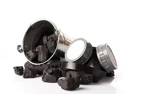 calorific: heap of coal and mining tools Stock Photo