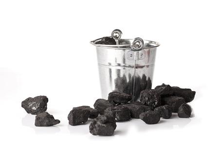 combustible: Bucket full of coal Stock Photo