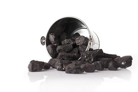 Bucket full of coal Stock Photo