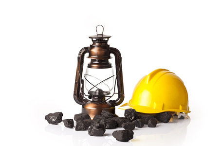 coal mining: Mining tools with protective helmet