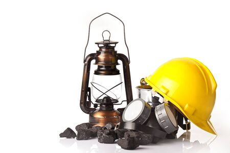calorific: Mining tools with protective helmet ear muffspickaxe and oil lantern