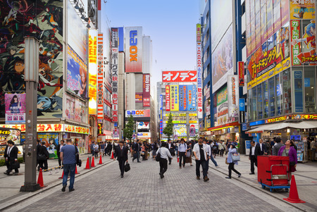 TOKYO, JAPAN CIRKA-MAY-2016: Akihabara district in Tokyo, Japan. The district is a major shopping area for electronic, computer, anime, games and otaku goods. Editorial