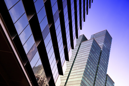 abstract modern building in the downtown Tokyo district in Sinjuku Stock Photo