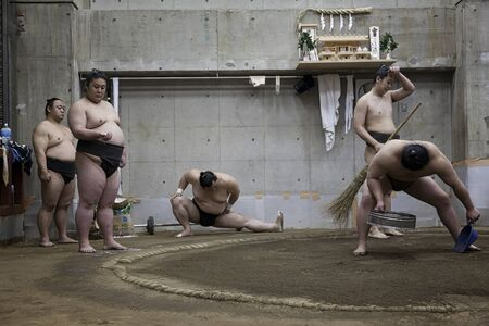 article of clothing: TOKYO, JAPAN - May 18, 2016: Japanese sumo wrestler training in Their stall in Tokyo on May 18. 2016