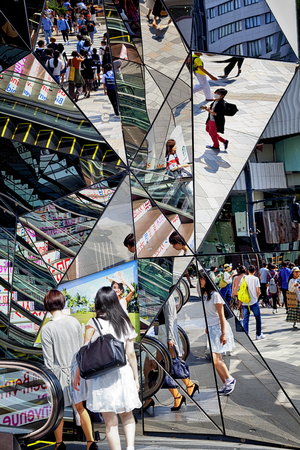 Harajuku: TOKYO JAPAN - JUNE 1.2016: Entrance of the Plaza building, Tokyu Plaza Omohara is a fashion theme park department store for the trendiest fashion located in Harajuku Area