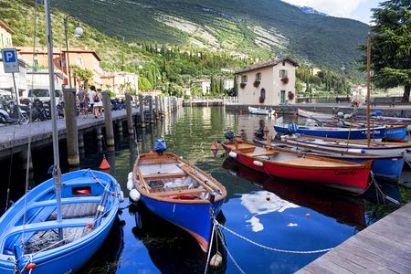 LAKE GARDA, ITALY AUGUST 1, 2016 Bay, Lake Garda, Malcesine, Italy