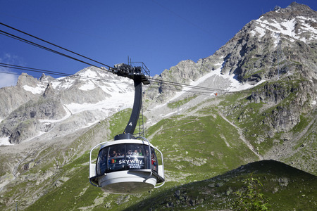 COURMAYEUR, IT - JULY 29, 2016: Cabin of new cableway SKYWAY MONTE BIANCO on the Italian side of Mont Blanc, Start from Entreves to Punta Helbronner at 3466 mt, in Aosta Valley region of Italy.