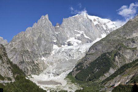 courmayeur: Panoramic view of Western Alps.Italian side of Mont Blanc summer landscape.
