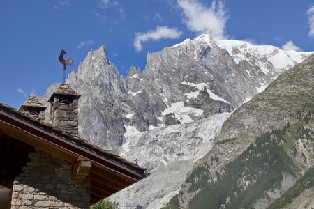 courmayeur: view of the Mont Blanc seen from Courmayeur, Aosta Valley, northern Italy Stock Photo