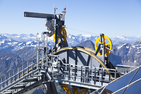 courmayeur: Detail of cable car gear. Courmayeur Valley Stock Photo