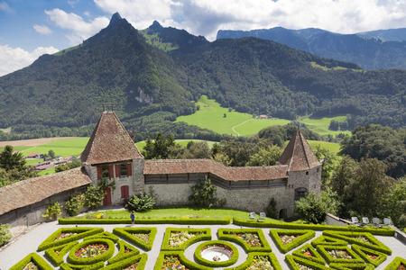 garden in Gruyere castle in sunny summer day, Switzerland