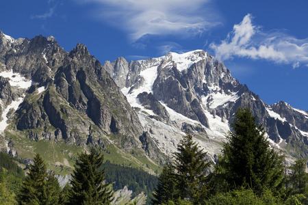 courmayeur: A view of the Mont Blanc seen from Courmayeur, Aosta Valley, northern Italy