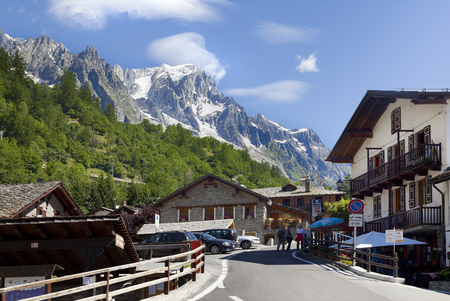 courmayeur: Entreves (Courmayeur), ITALY - JULY 29, 2016, a beautiful village with new monte bianco skyway Stock Photo