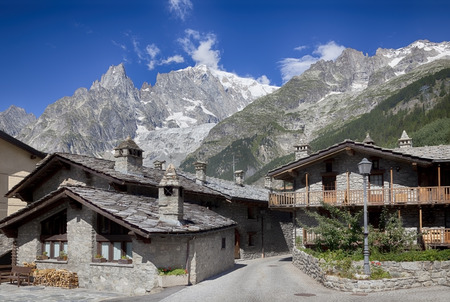 tramway: Entreves (Courmayeur), ITALY - JULY 29, 2016, a beautiful village with new monte bianco skyway Stock Photo