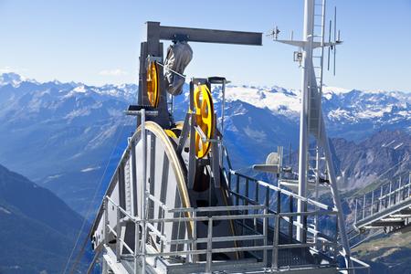 courmayeur: Detail of cable car gear. Courmayeur Valley Stock Photo