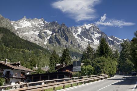blanc: Italian side of Mont Blanc summer landscape. Mont Blanc is the highest peak of Western european Alps.