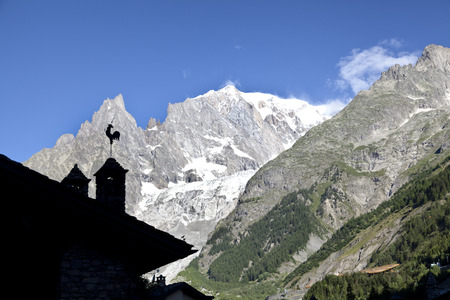 Italian side of Mont Blanc summer landscape. Mont Blanc is the highest peak of Western european Alps.