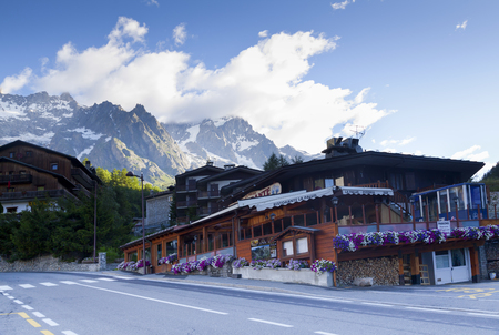courmayeur: Entreves (Courmayeur), ITALY - JULY 29, 2016, a beautiful village with new monte bianco skyway Editorial