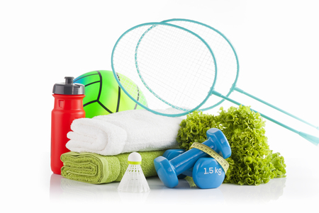 Sports and fitness equipment and health food concept. Stock Photo