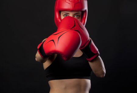 boxing tape: Female boxer, super woman concept Stock Photo