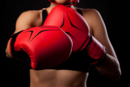 boxing tape: Female boxer warming up before sparring