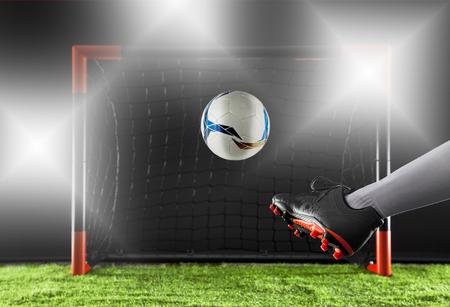 Soccer goal moment Striker shooting on goal