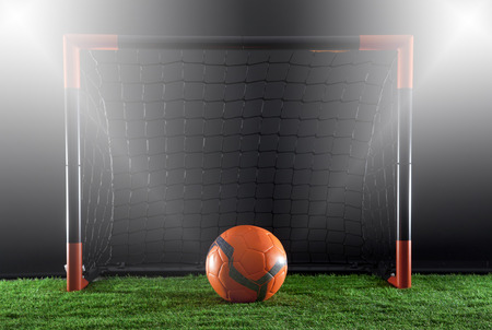 soccer ball in front of goal. Stock Photo