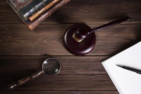 Wooden judge`s gavel. Law. Judge's office.