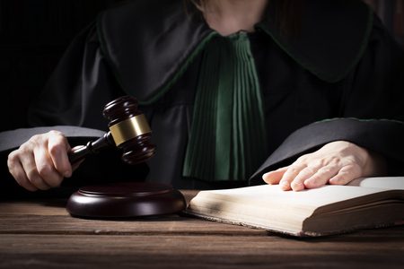 Wooden judge`s gavel. Law and justice